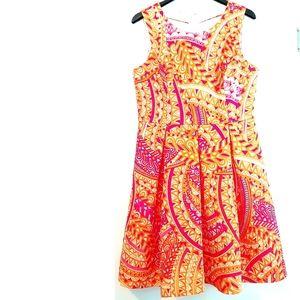 14 Sandra Darren Print Fit & Flare Dress